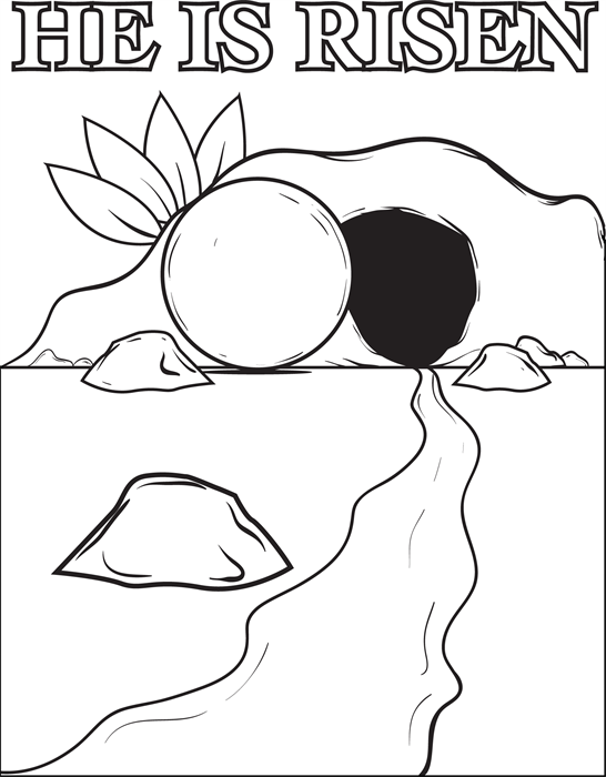 Easter Coloring Page For Kids Of The Resurrection Jesus And Stone Rolled Away From Tomb