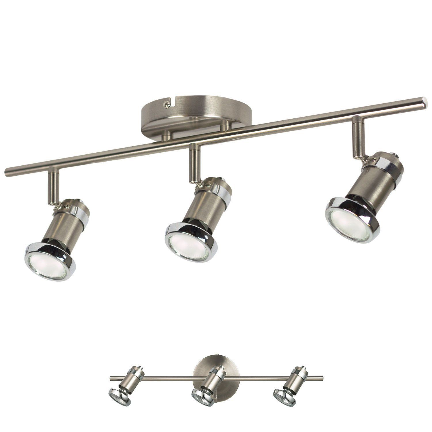 57 3 light track lighting adjustable wall or ceiling spot light 57 3 light track lighting adjustable wall or ceiling spot light fixture brushed nickel arubaitofo Image collections