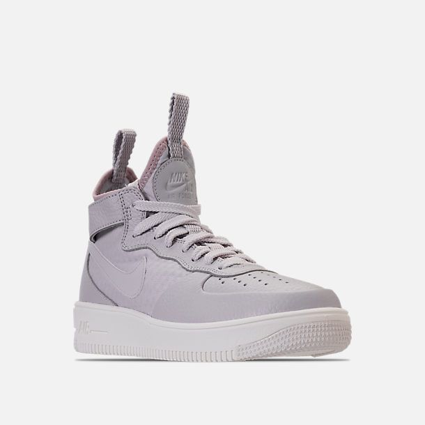pretty nice b242e b458d Three Quarter view of Women s Nike Air Force 1 Ultraforce Mid Casual Shoes  in Vast Grey Particle Rose