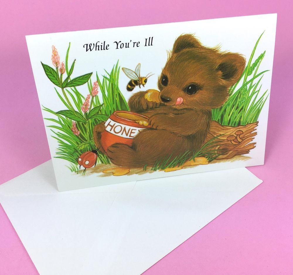 Vtg Un Used Greeting Card A Honey Bear Get Well A Kawaii Fairy
