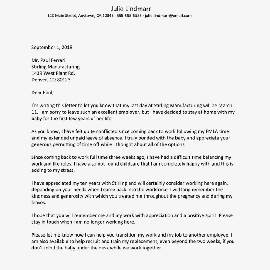 Browse Our Sample of Resignation Letter Due To Work Life