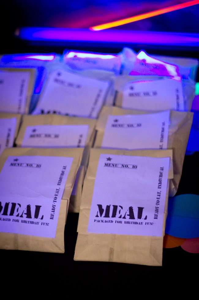 make mres for laser tag birthday party food or favors