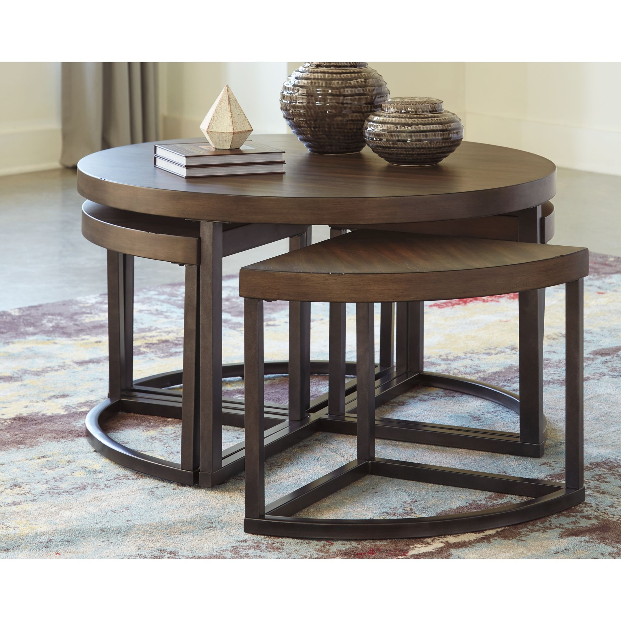 Johurst Cocktail Table With 4 Stools In 2020 Coffee Table And Stool Set Coffee Table Round Wooden Coffee Table [ 2048 x 2048 Pixel ]