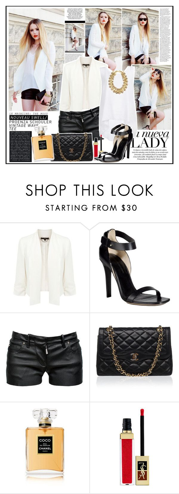 """""""What Goes Around Comes Back Around"""" by oriya ❤ liked on Polyvore featuring Unis, Coast, COSTUME NATIONAL, Balmain, Enza Costa, Chanel, Yves Saint Laurent and AK Anne Klein"""