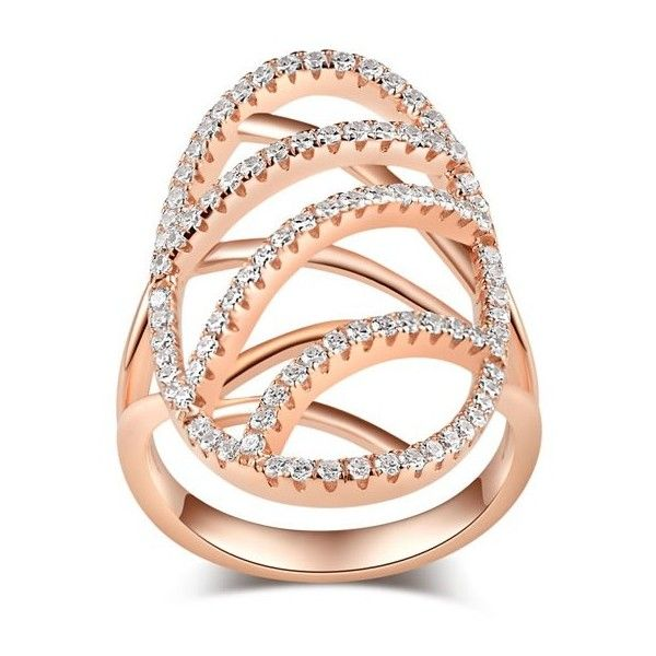 925 Sterling Silver Rose Gold Plated Oval Romantic Womens Ring (300 SAR) ❤ liked on Polyvore featuring jewelry, rings, rose gold plated jewelry, sterling silver jewelry, sterling silver oval ring, sterling silver rings and sterling silver jewellery