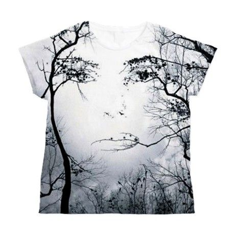 Woman Face Trees Womens All Over Print T Shirt On CafePress