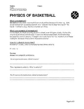 Momentum Center Of Gravity And Basketball Word Problems Word Problem Worksheets Physics Answers