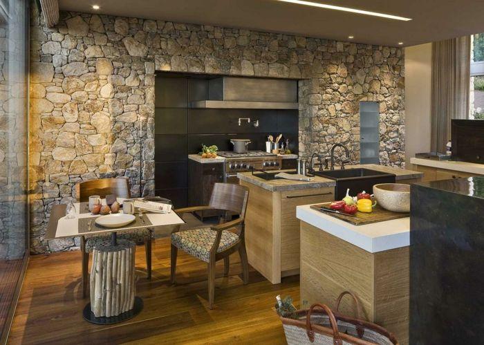 Ladrillo visto cocina grande con isla y mesita para dos - Ladrillo decorativo interior ...