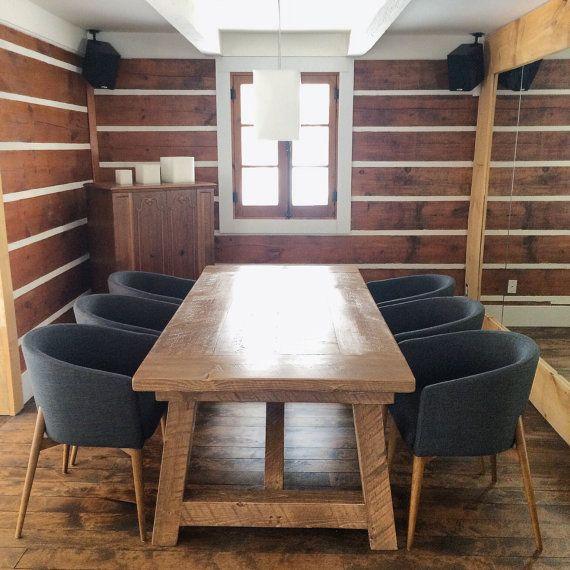 Table De Cuisine En Bois Massif Avec Base En Bois Par Ateliereben