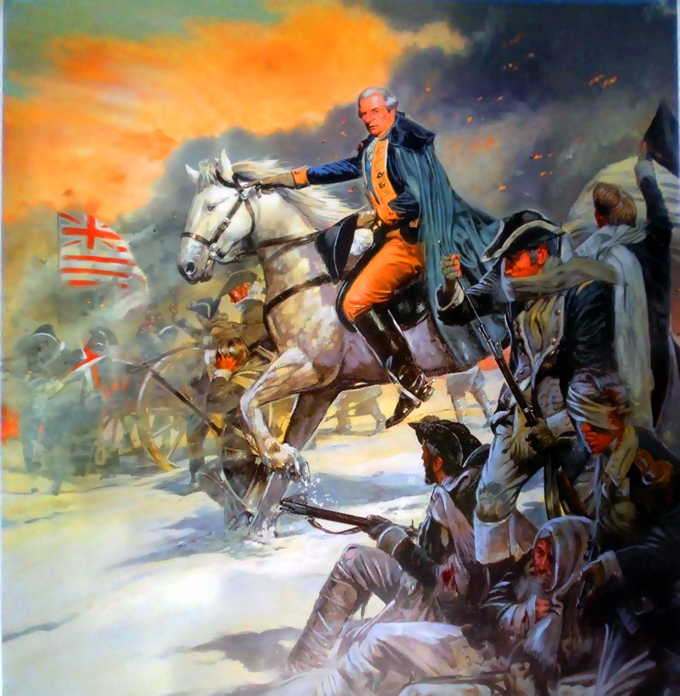 Washington Leading The Continental Army At The Battle Of
