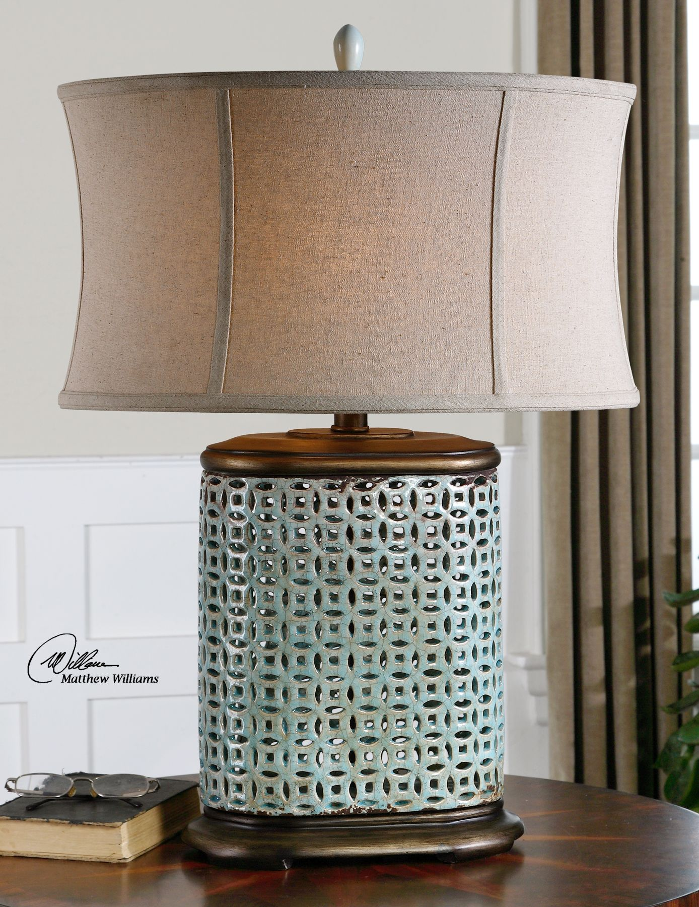 Uttermost lamp Blue table lamp, Transitional table lamps