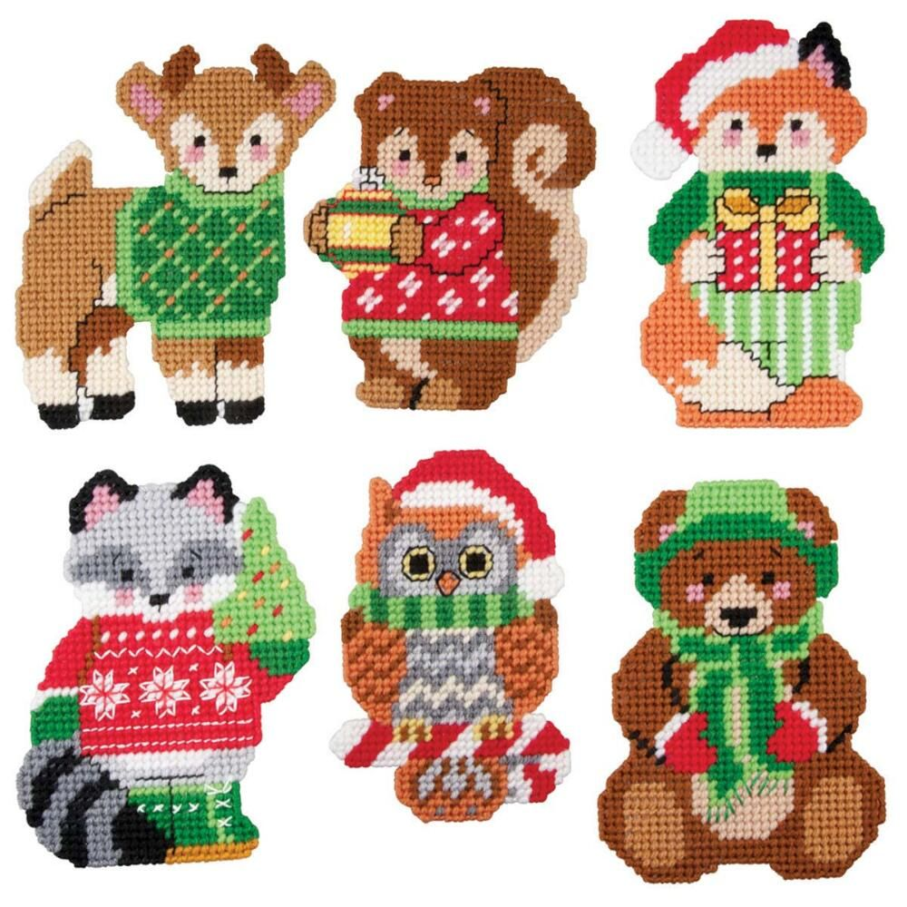 Herrschners Woodland Christmas Animals Ornaments Plastic Canvas Kit Plastic Canvas Ornaments Plastic Canvas Christmas Plastic Canvas Crafts