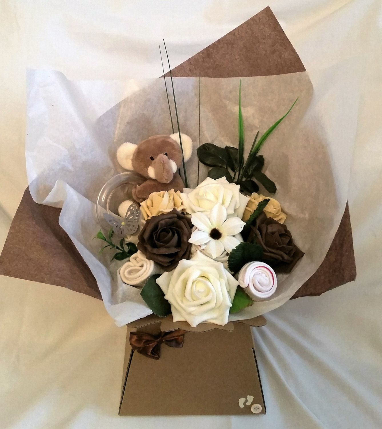 Neutral baby clothessock bouquet baby shower new baby gift neutral baby clothessock bouquet baby shower new baby gift maternity negle Gallery