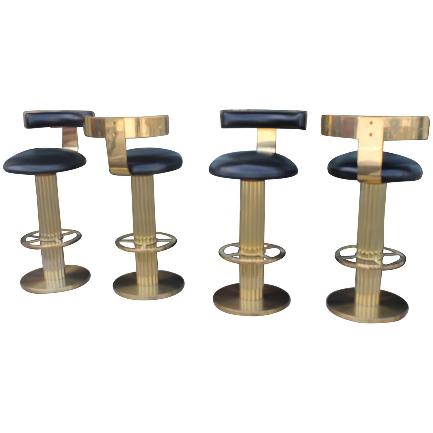 vintage set four swivel brass excalibur barstools bar stools design for leisure - Cool Bar Stools