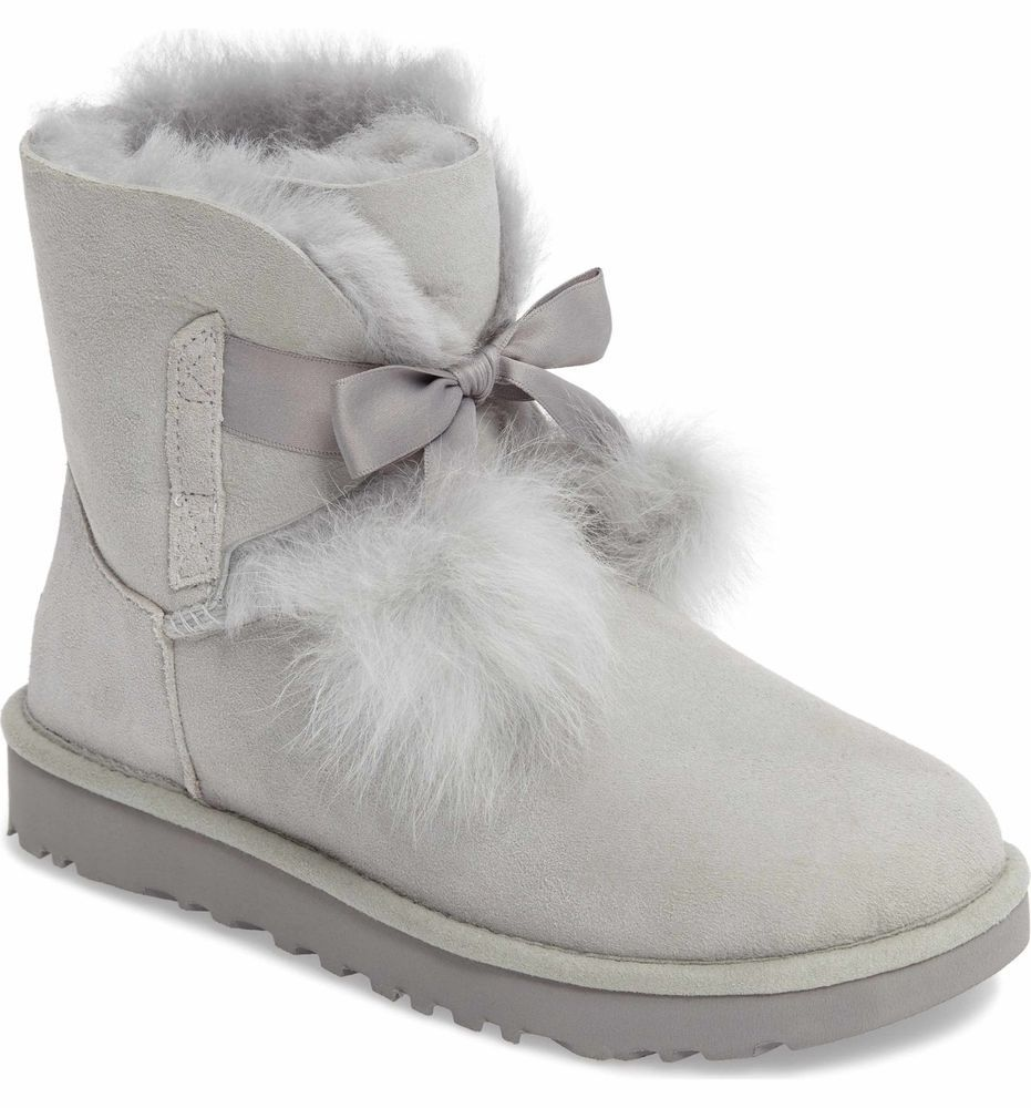e021d5c639c WOMENS UGG AUSTRALIA Boots Gita Genuine Shearling Bow Grey Ankle ...