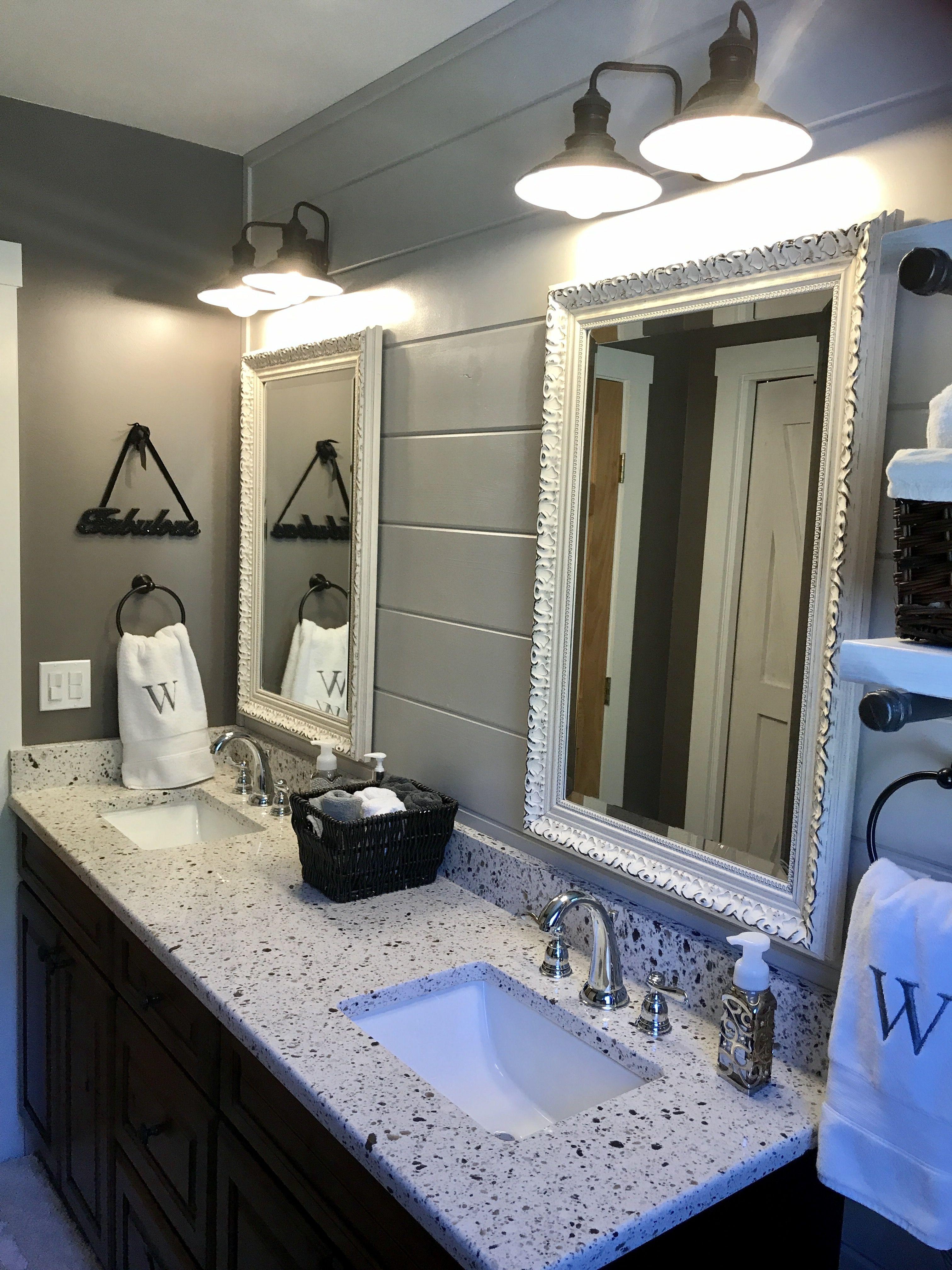 Bathroom remodel farmhouse modern framed bathroom
