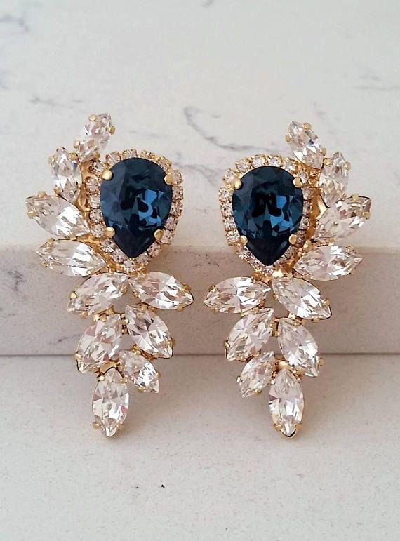 1eb8db5ceb7e7 Navy blue earrings,Blue earrings,Blue bridal earrings,Bridal ...