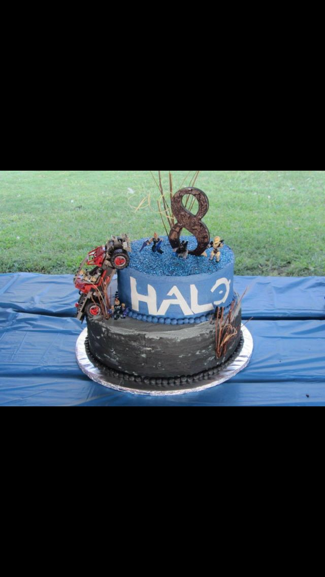 Halo cake with truck army men layered vanilla cake with almond