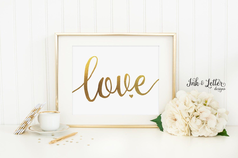 Love printable love wall art love print gold nursery decor