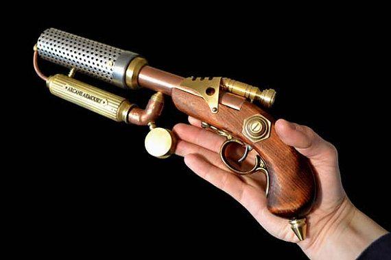 Steampunk Flame Thrower pistol dieselpunk fantasy by