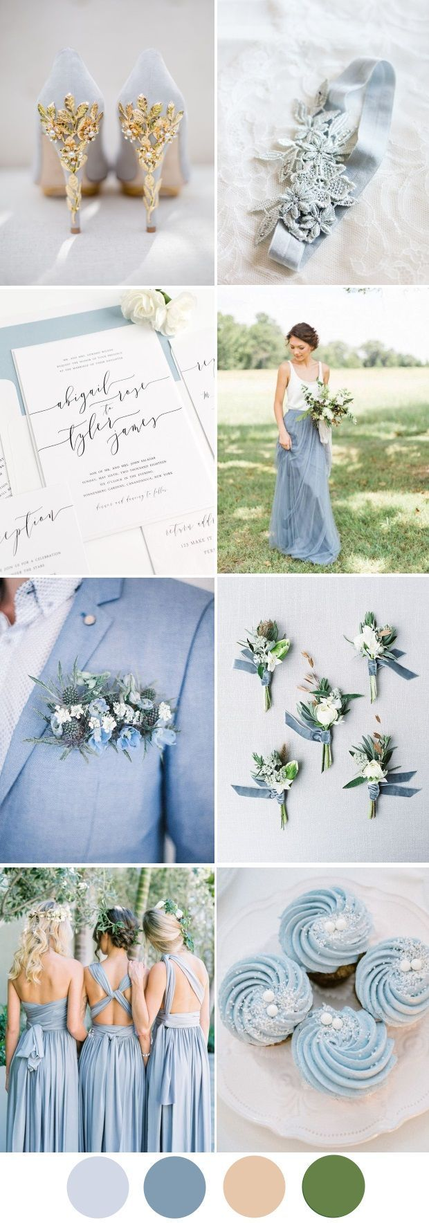a dreamy dusty blue wedding palette that works as well for a festive winter
