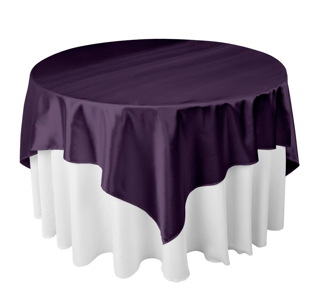 Attractive White Tablecloth With Purple Overlay   Google Search