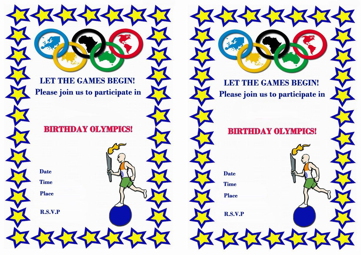 Olympics FREE Printable Birthday Party Invitations | Birthday Party ...