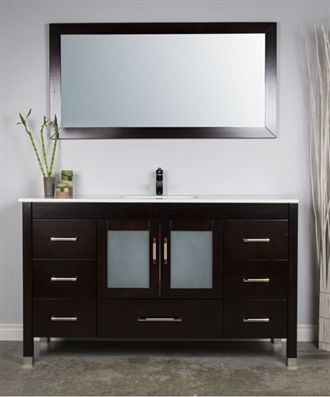59 Inch Single Sink Vanity Available In White With White Counter