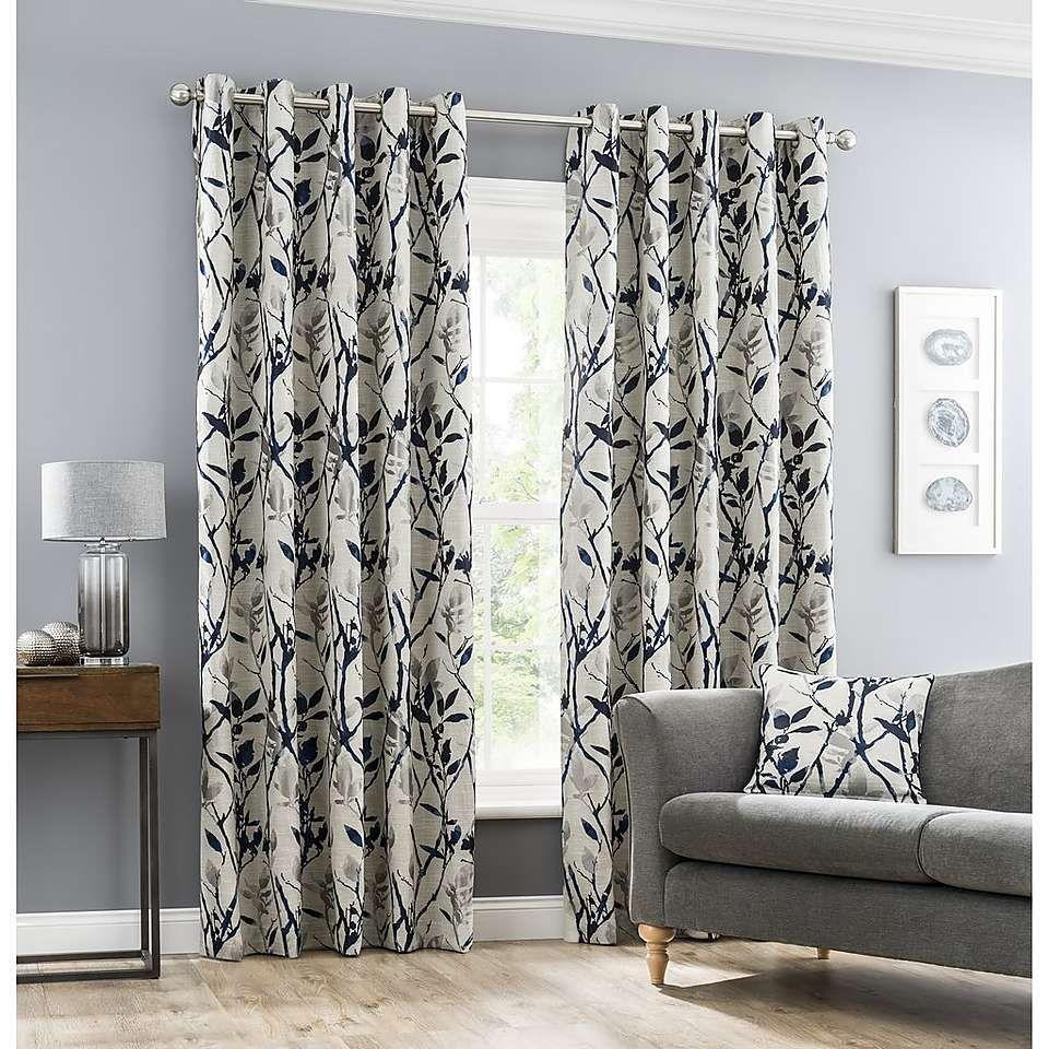 Zen Blue Jacquard Eyelet Curtains