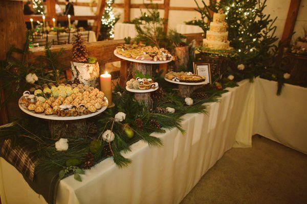 Winter Wedding Dessert Table Evergreens Pinecones And Cotton