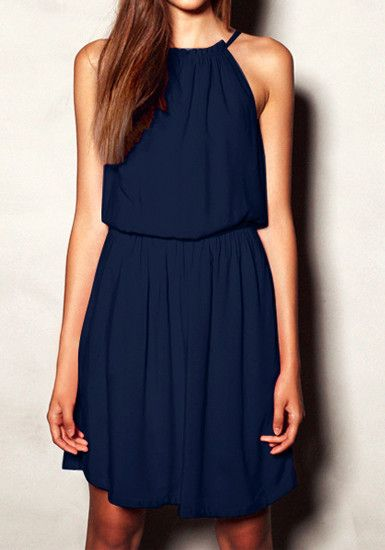 701ea84b3 Navy Pleated Flowy Dress