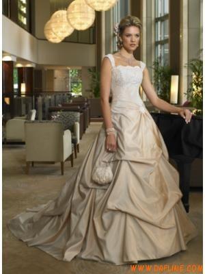 A-Line/PrincessStraplessFloor-lengthtaffetaweddingdress...