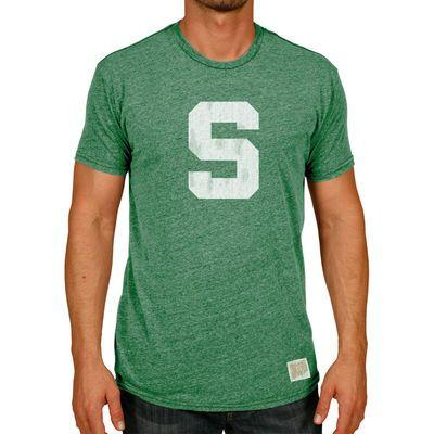 Michigan State Spartans Original Retro Brand Vintage Big S Tri-Blend  T-Shirt - Heather Green fe20acbfc1