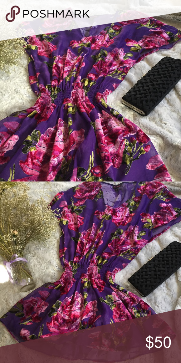 Betsey Johnson Purple Floral Burnout Velvet Dress Short Sleeve Burnout Velvet Dress Betsey Johnson Dresses Midi