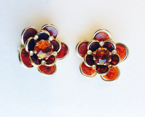 Vintage Brown Floral Clip On Earrings  Dark by chrisaliciavintage