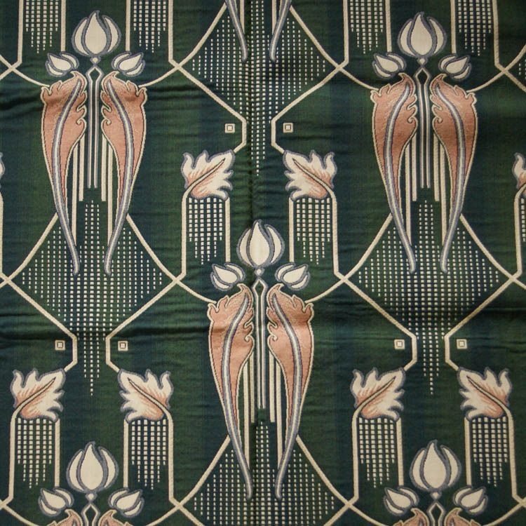 Art Deco Art Nouveau Green Flat-Weave Curtain And