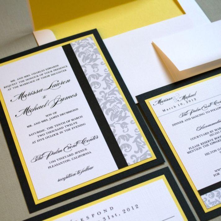 classic damask wedding invitations black white yellow | wedding, Wedding invitations