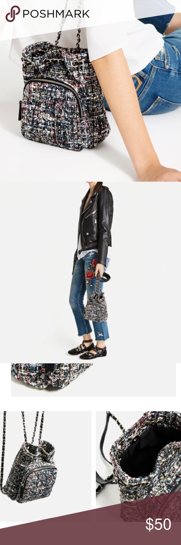 Zara tweed chain backpack Used once Zara Bags Backpacks