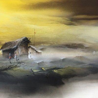 Landscapes Depict Elements Of Nature Be It A Village Scenery Original Certified Landscape Art With M Landscape Art Landscape Paintings Famous Indian Artists