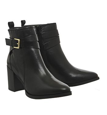 Office Izzy Buckle Boots Black Leather - Ankle Boots