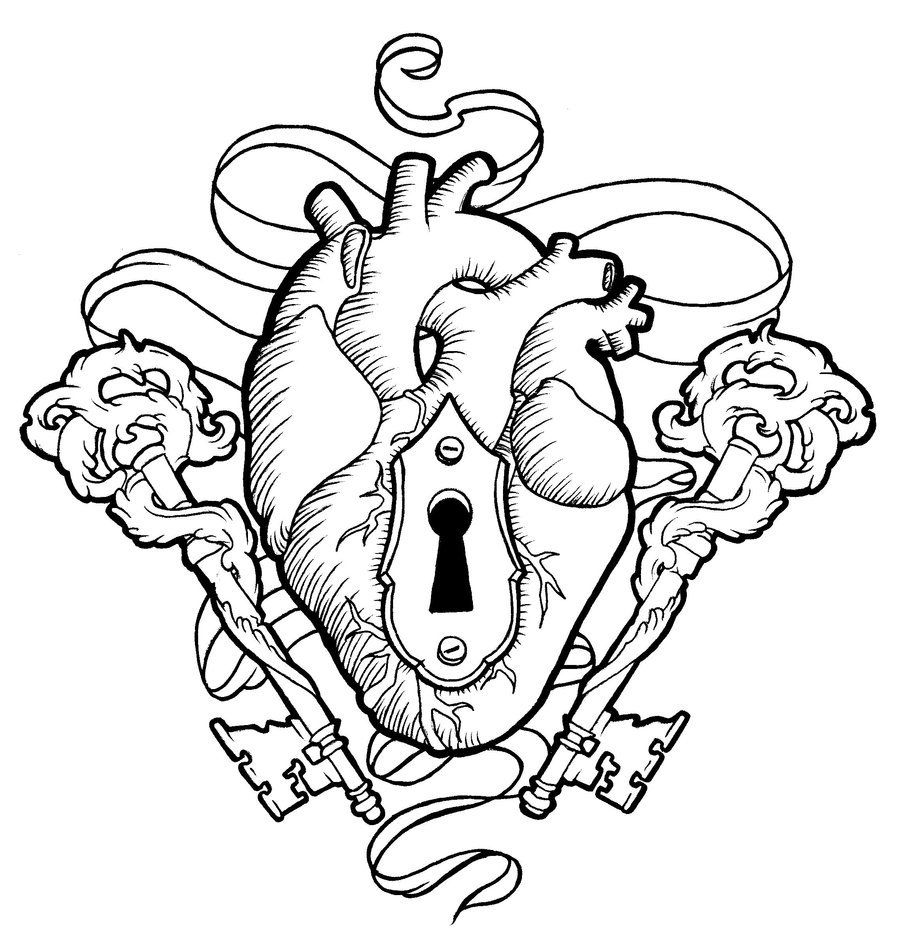 Heart And Keys Heart Coloring Pages Heart Drawing Key Tattoo Designs