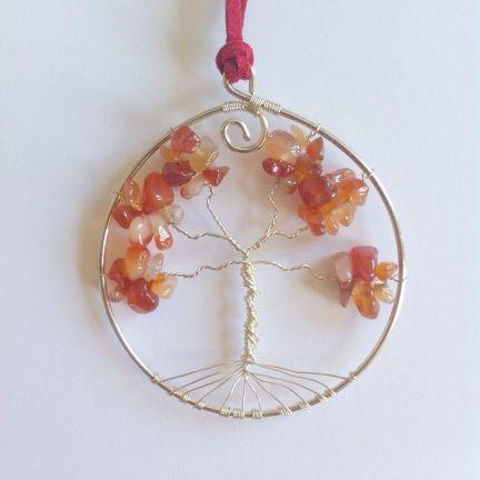 Grote verzilverde Levensboom ~ Kies je kleur en edelsteen! ~ Handgemaakt