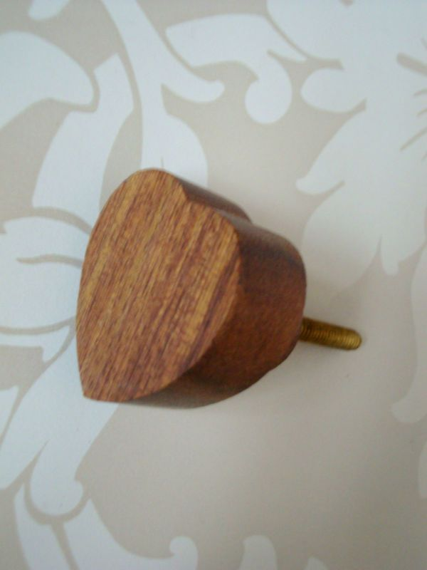 Wooden Heart Drawer Knobs, Dark Medium Light, Cupboard Door Handles ...