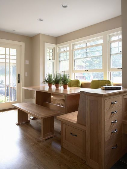 On the menu: one order of cozy seating with plentiful sides of storage. For the kitchen or any other room, built-ins fit the bill