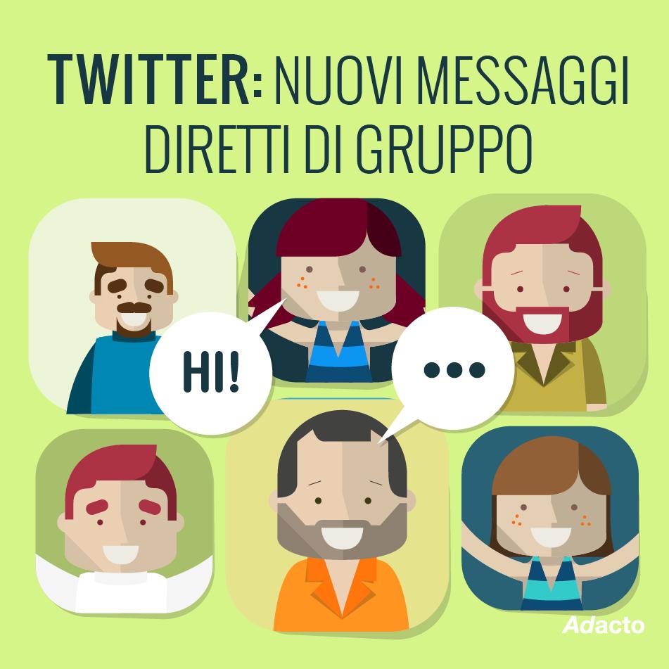 Novità Twitter n° 4 Arrivano i messaggi diretti di gruppo per parlare fino a 20 persone in privato. #twitter #chat #twitternews #social #adactonews