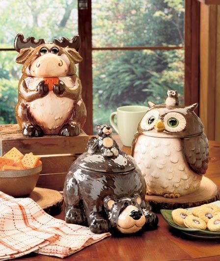 Ceramic Forest Friends Kitchen Canister Owl Moose Bear NEW