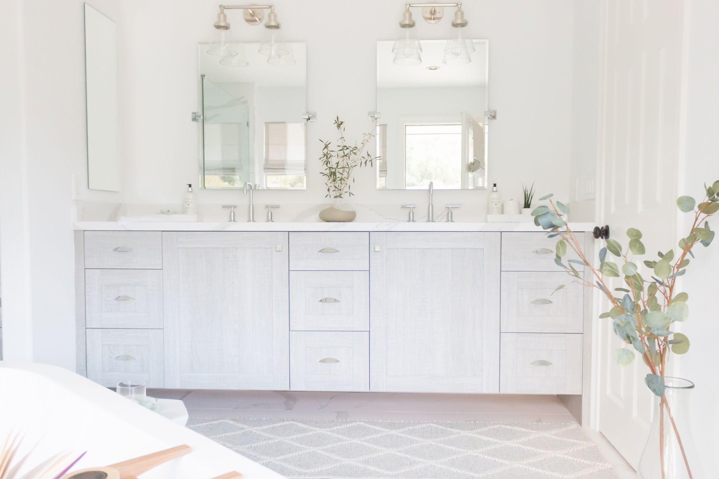 High End Master Bath White Decor Greenery Grey Bathroom
