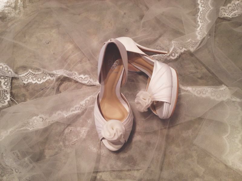 Bespoke Bridal heels with detachable embellishment.  4inch with double platforms. silk satin, organza and leather lining.