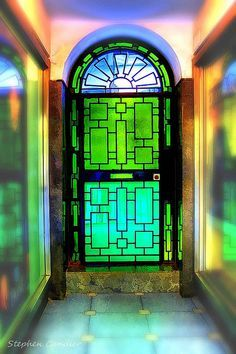 Our Very First Venture Into The World Of Critical Thinking The Infamous Green Glass Door Was An Emotional Rolle Green Front Doors Green Door Front Door Colors