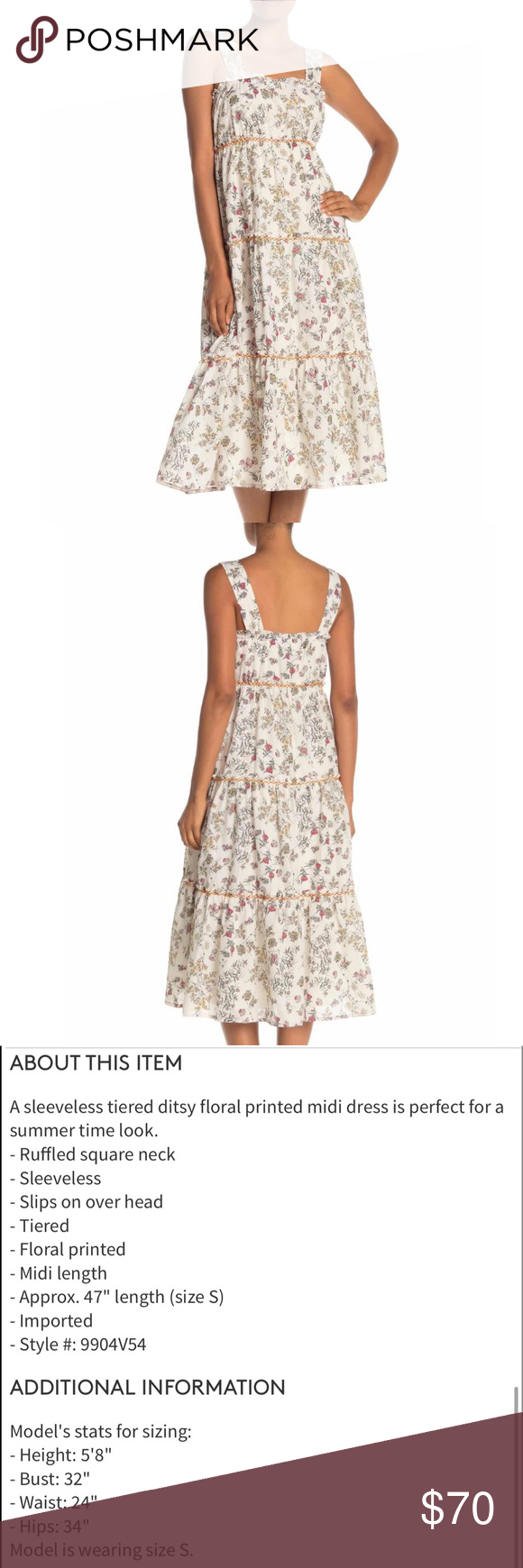 Nordstrom Midi Dress Floral Tank Tiered Skirt Nwt Floral Midi Dress Clothes Design Floral Tank [ 1740 x 580 Pixel ]